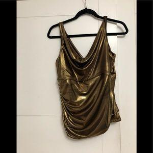 FRANK LYMAN/Ladies/Gold/Blouse/ Worn/ Size 14